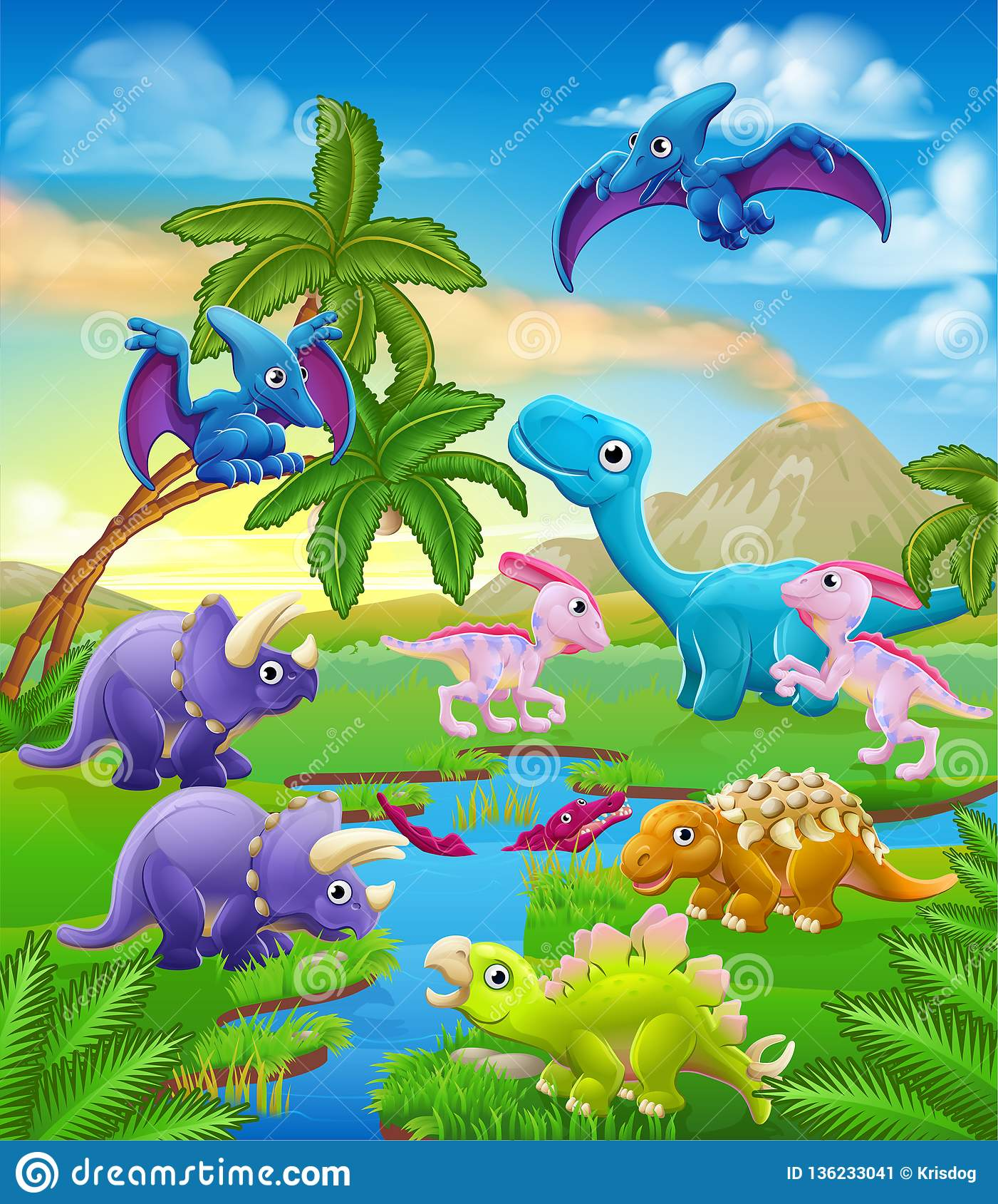 Dinosaur Cartoon Prehistoric Landscape Scene Stock Vector Illustration Of Brachiosaurus Jurassic 136233041