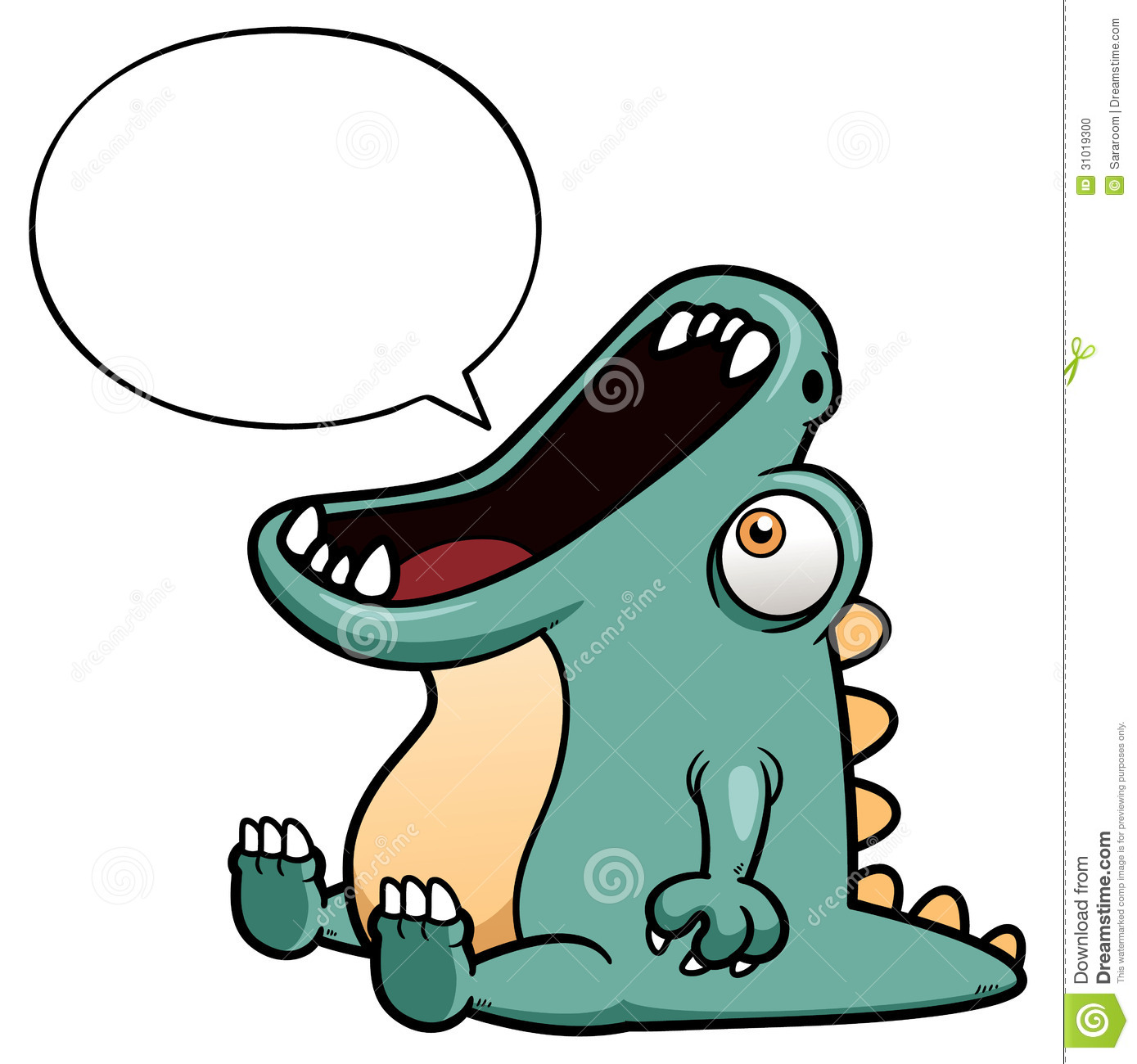 Dinosaur Cartoon With Speech Balloon Stock Photo - Image: 31019300