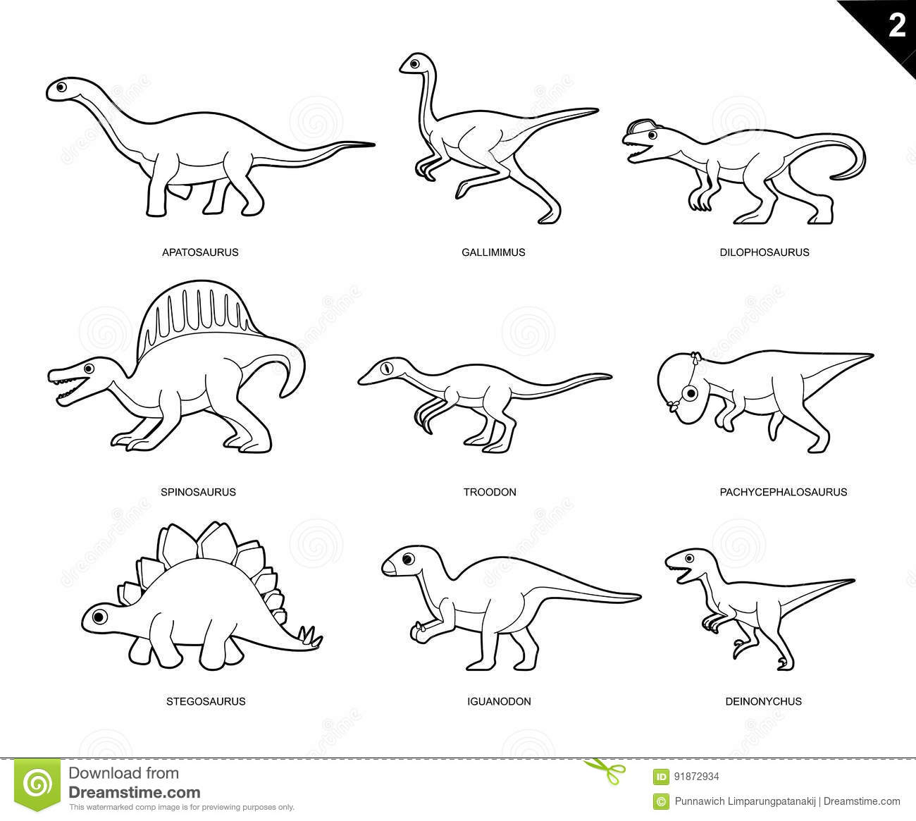Dinosaur Coloring Book Cartoon Vector Illustration Set 2 Stock ...