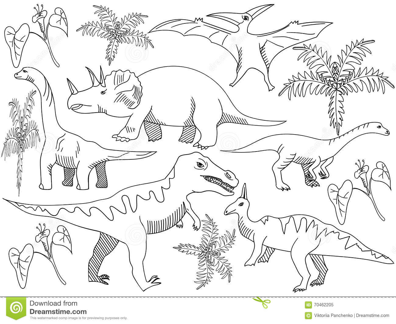 Dinosaur Coloring Book Vector For Adults Stock