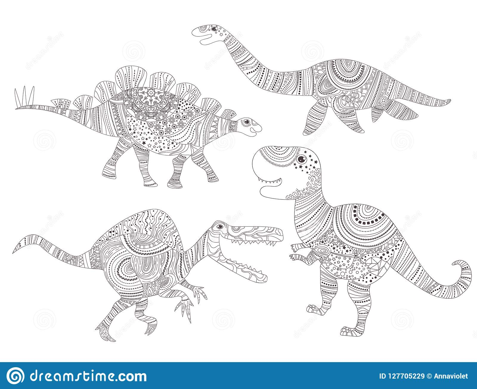 Dinosaur. Coloring Page For Child And Adults Vector. Cartoon ...
