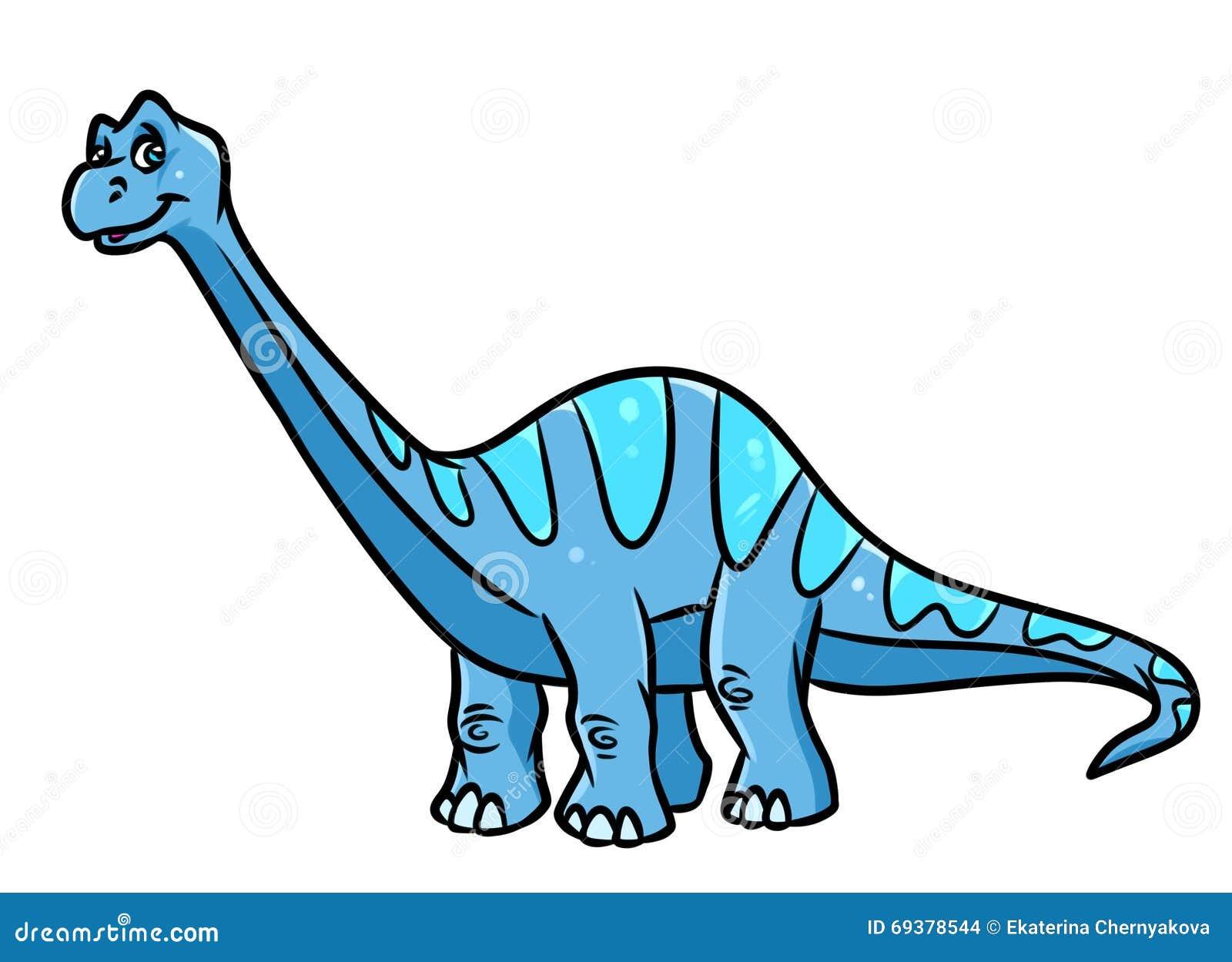 dinosaur diplodocus herbivorous cartoon illustration stock images
