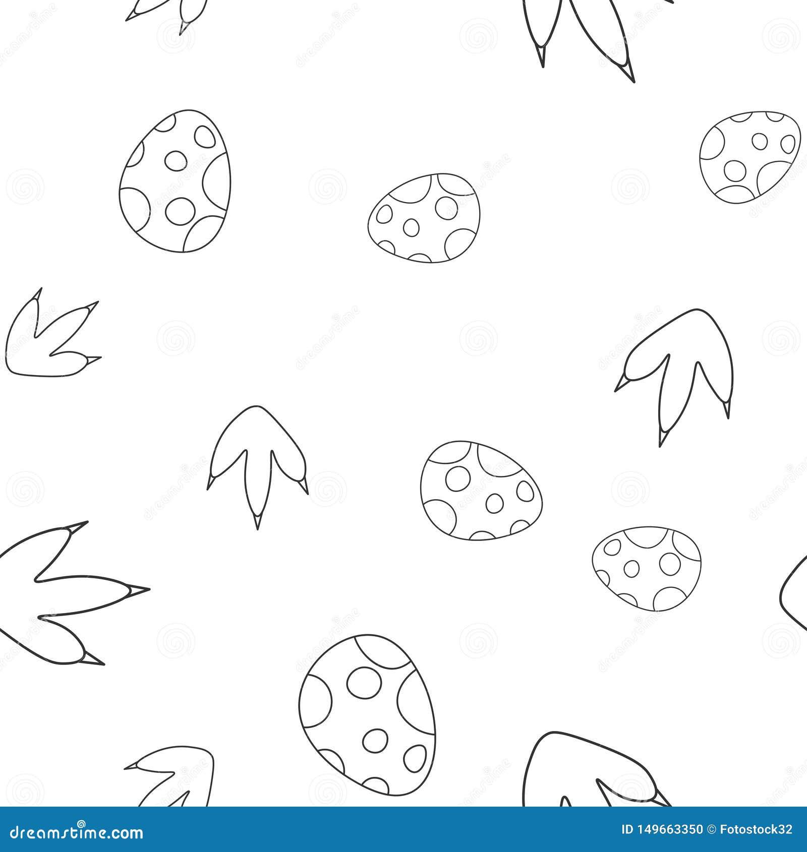 Dinosaur egg and footprint seamless pattern