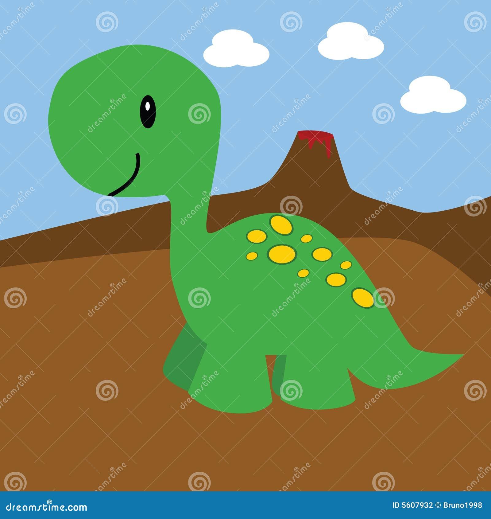 Dinosaur Et Volcan De Dessin Animé Illustration De Vecteur