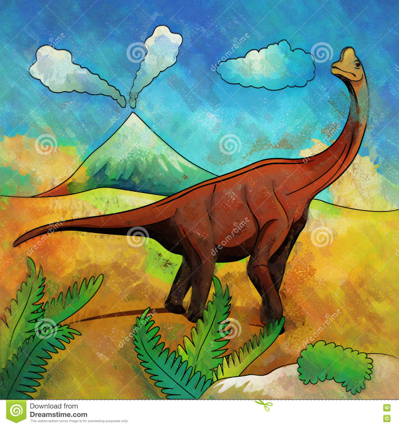 Dinosaur In The Habitat Illustration Of Brachiosaur Stock