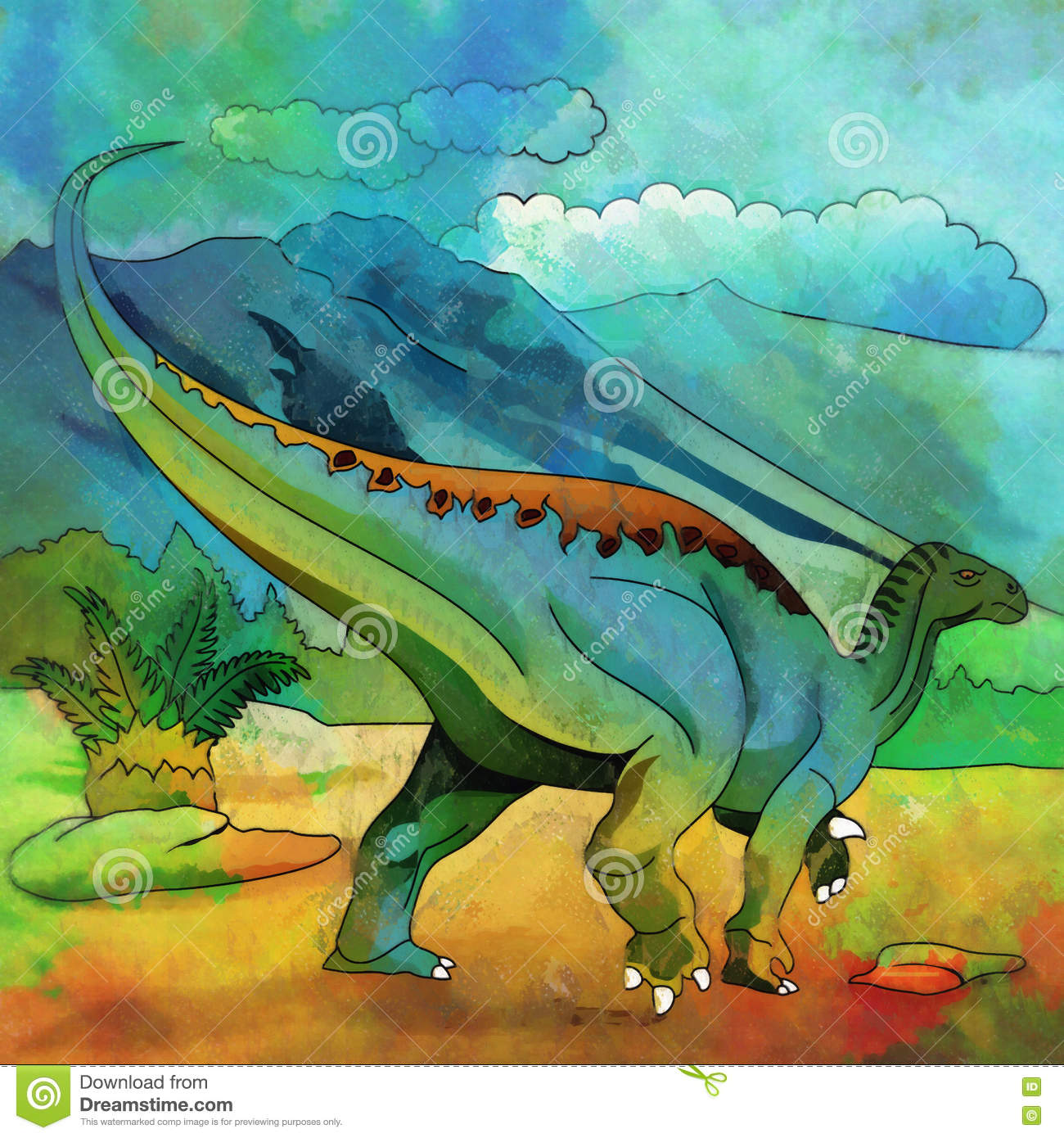 Dinosaur In The Habitat Illustration Of Plateosaur Stock