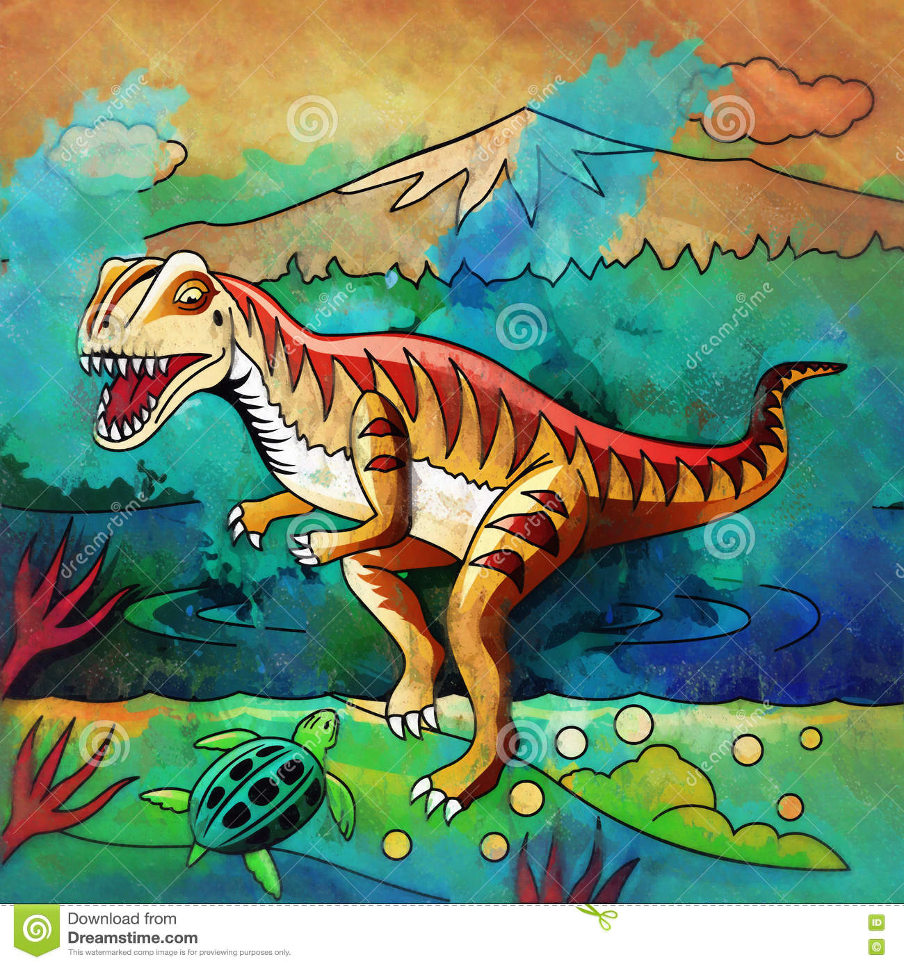 Dinosaur In The Habitat Illustration Of Velociraptor Stock