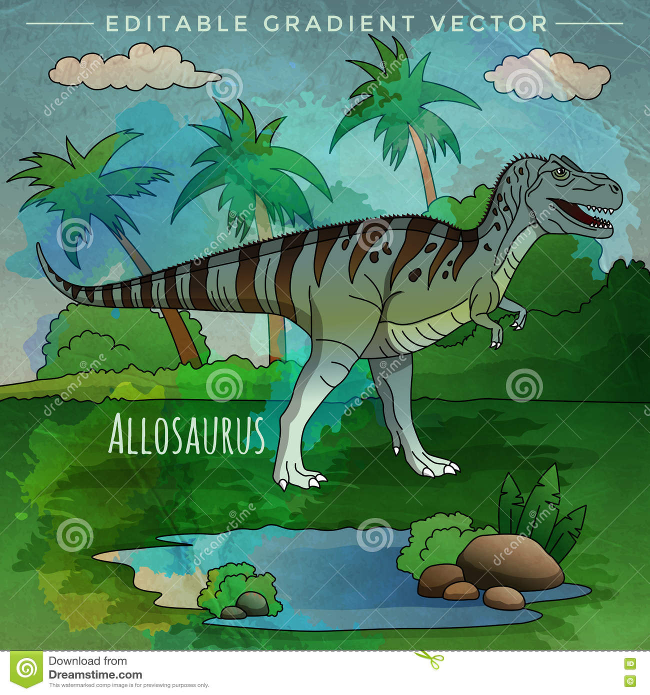 Dinosaur In The Habitat Vector Illustration Of Allosaur Stock