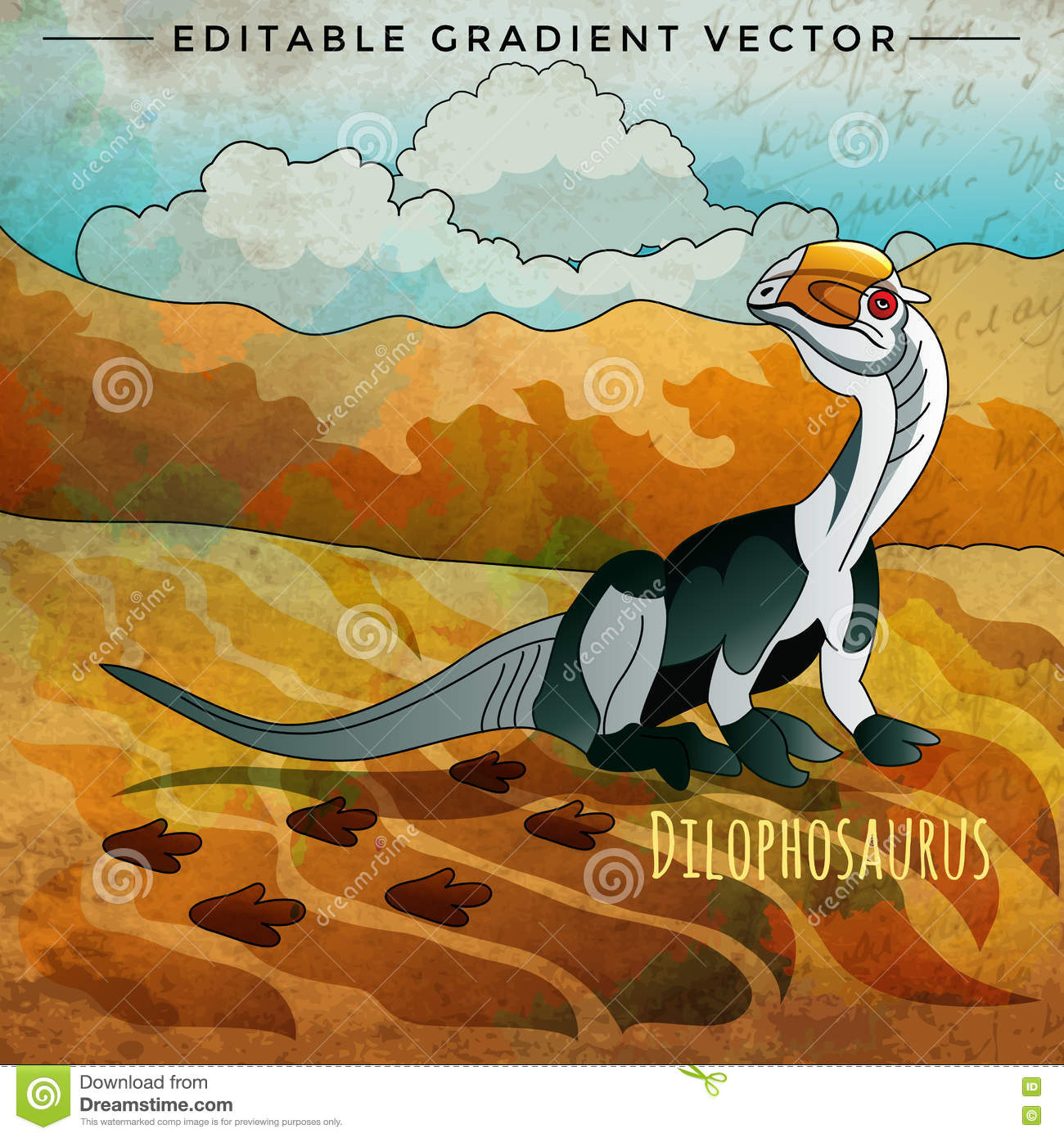 Dinosaur In The Habitat Vector Illustration Of Dilophosaur Stock