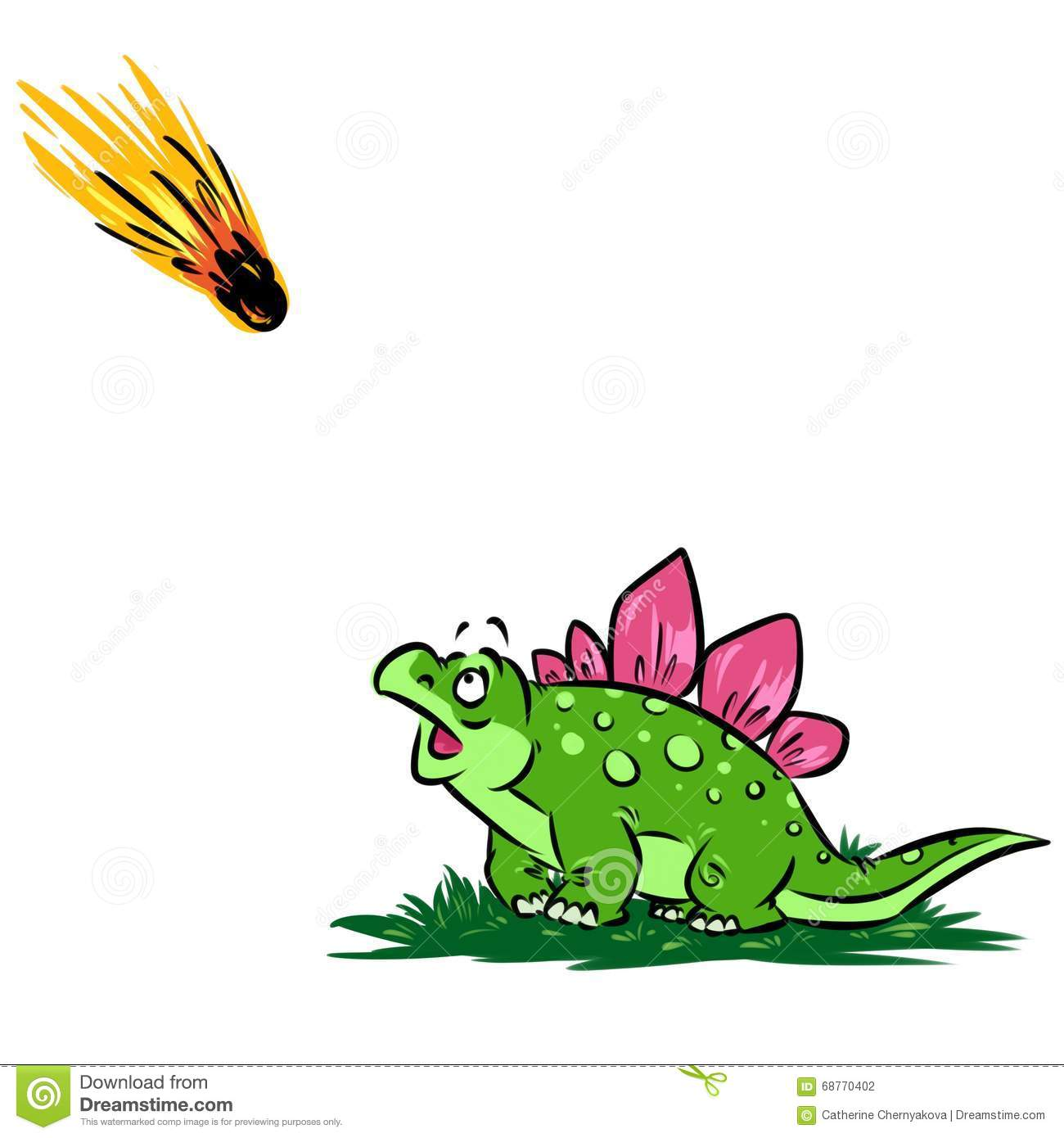 Dinosaur Hypothesis Meteorite Cartoon Illustration Stock ...