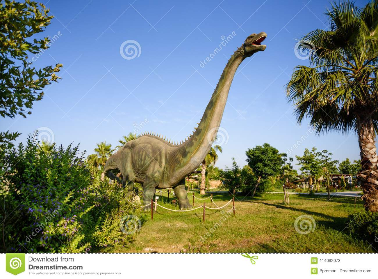 Dinosaur In The Jungle Background Editorial Stock Photo Image Of Jurassic Ancient 114092073