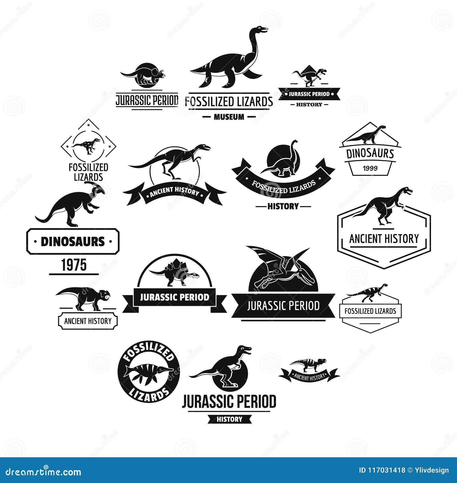ccfdef38010d9 Dinosaur Logo Icons Set, Simple Style Stock Vector - Illustration of ...