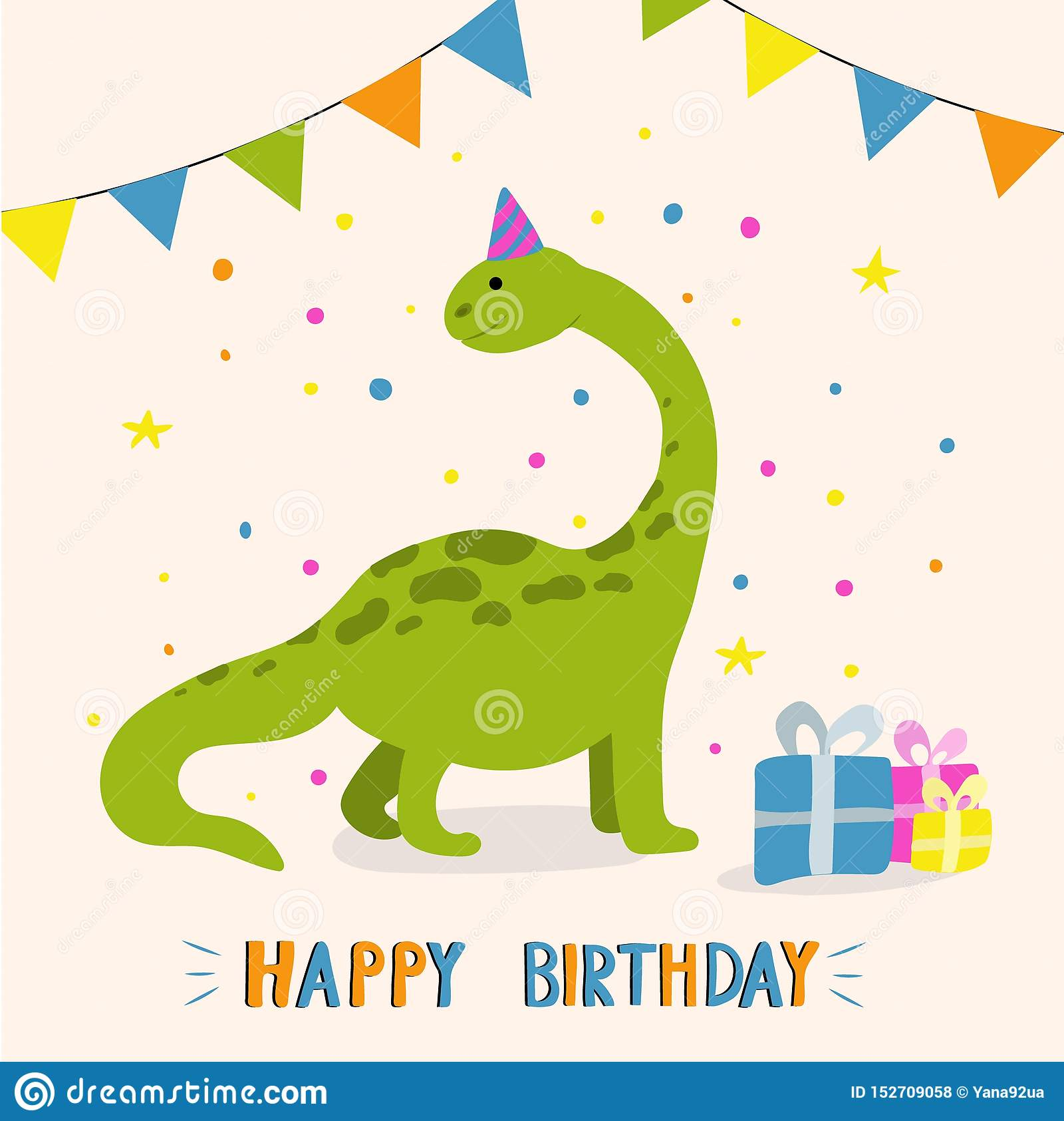 Dinosaur Mignon De Dessin Anim Carte De Voeux De Joyeux Anniversaire Illustration De Vecteur Illustration Du Voeux Dessin 152709058