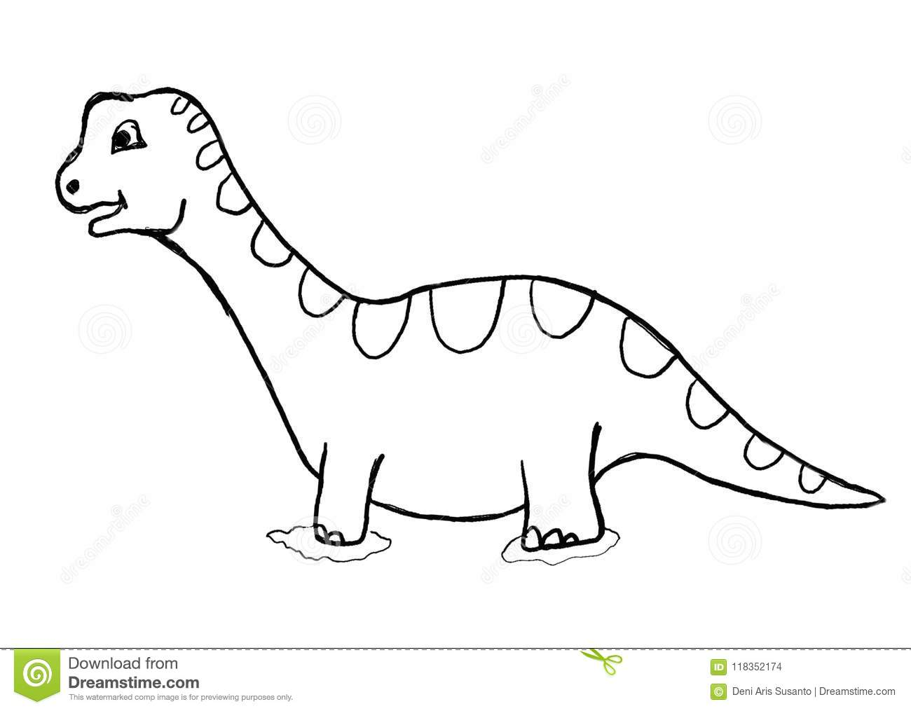 Dinosaur Outline Cartoon Colouring Page Stock Illustration