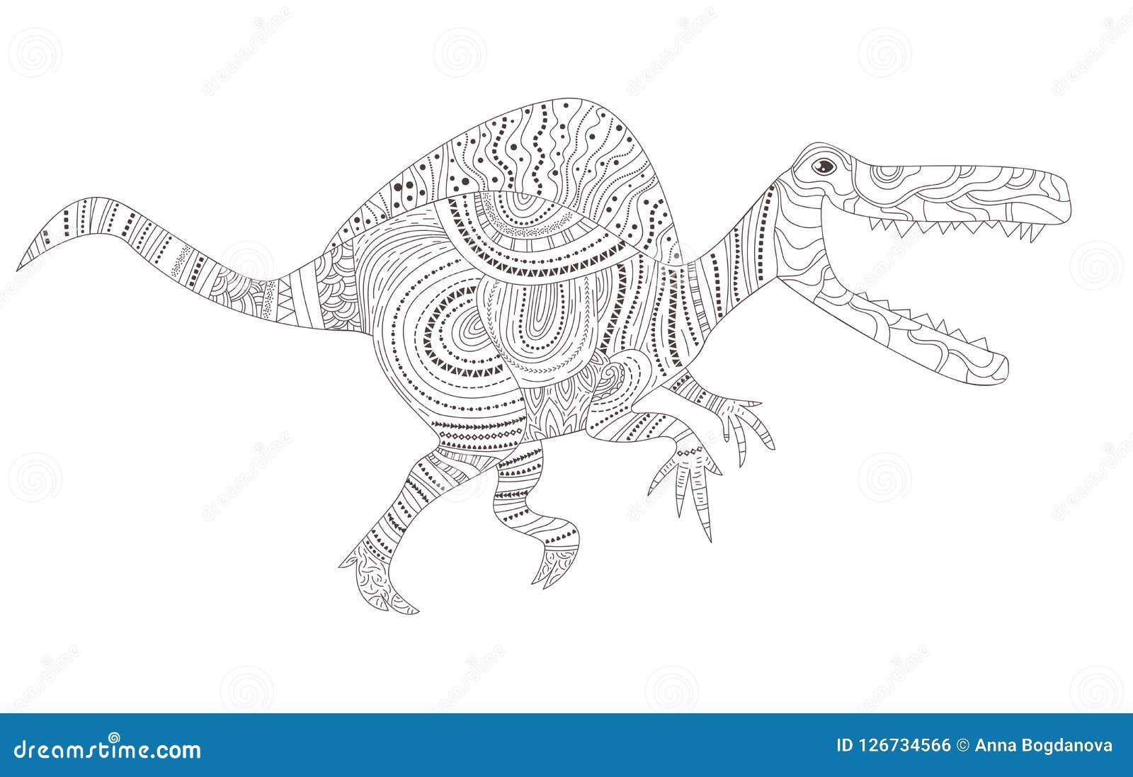 Dinosaur Página da coloração para o vetor da criança e dos adultos cartoon Arte isolada