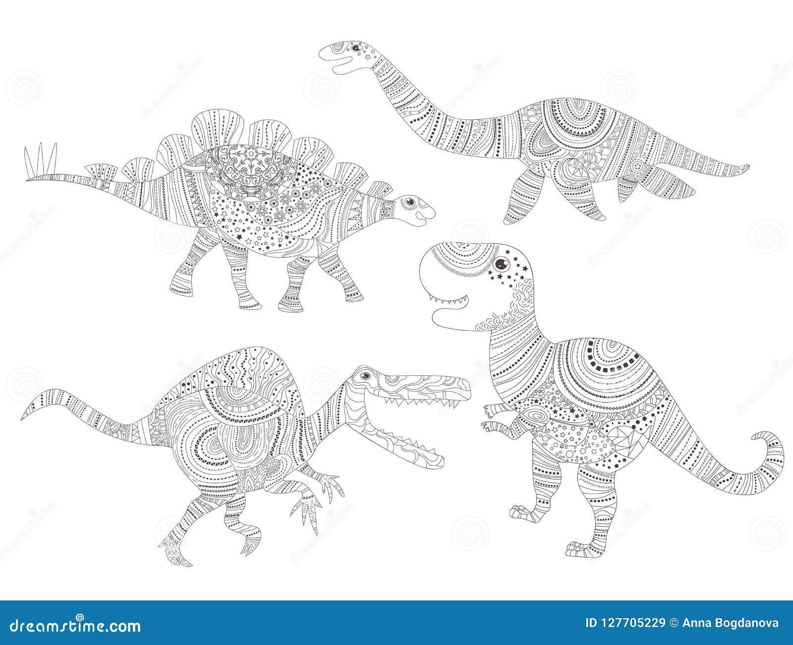 Dinosaur Página da coloração para o vetor da criança e dos adultos cartoon Isolado