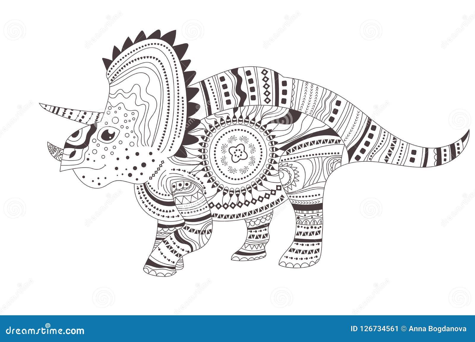 Dinosaur Página da coloração Vetor cartoon Arte isolada