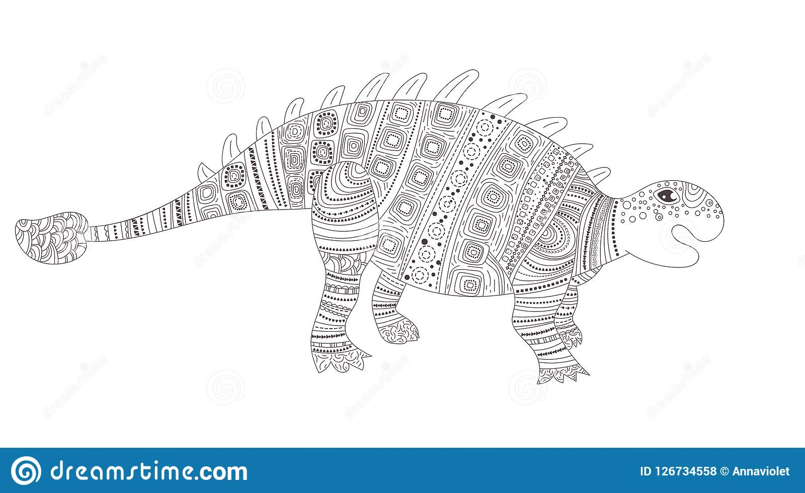 Dinosaur Page de coloration pour le vecteur d enfant et d adultes cartoon Art d isolement