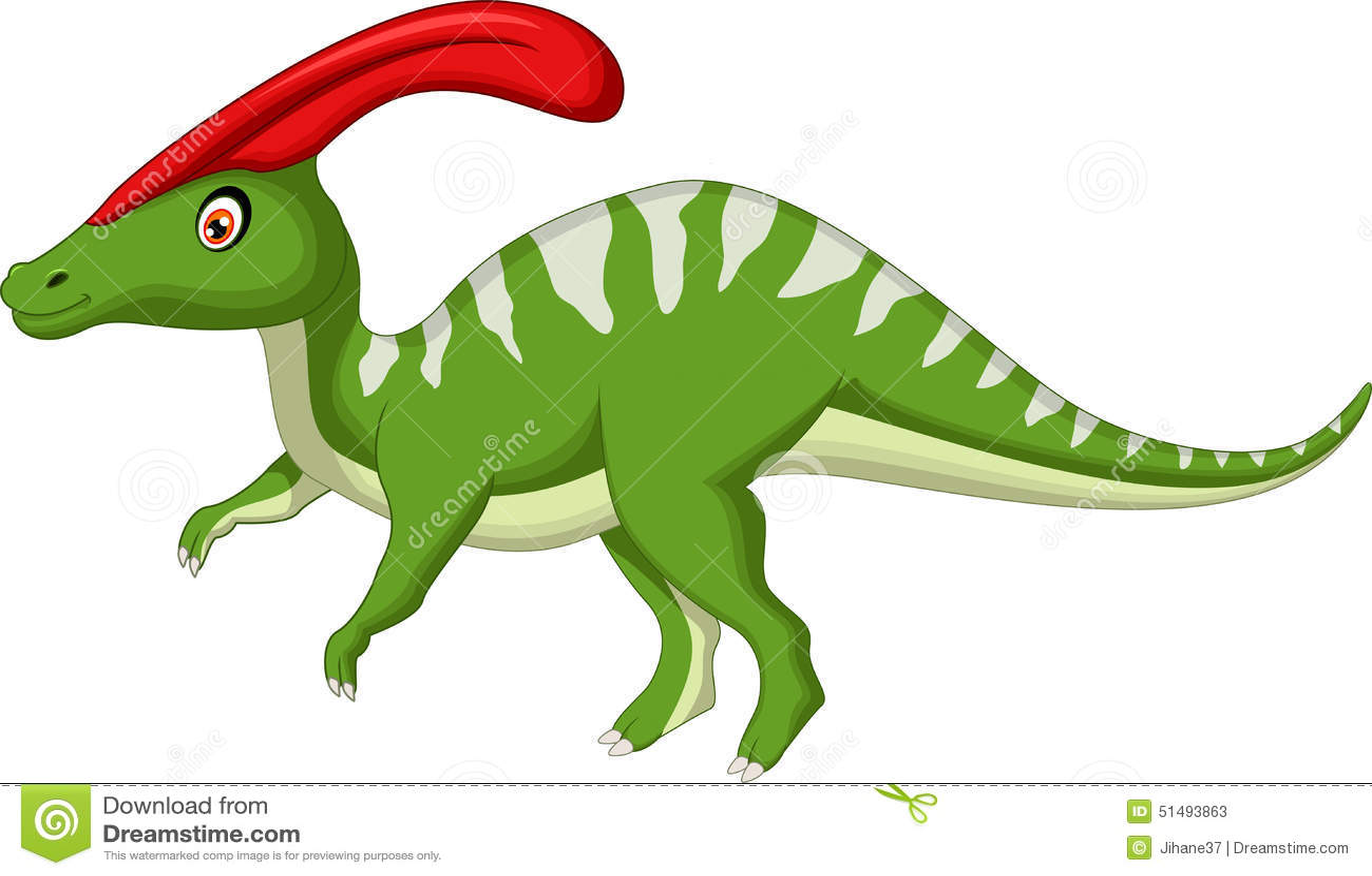 Dinosaur Parasaurolophus Cartoon Stock Illustration