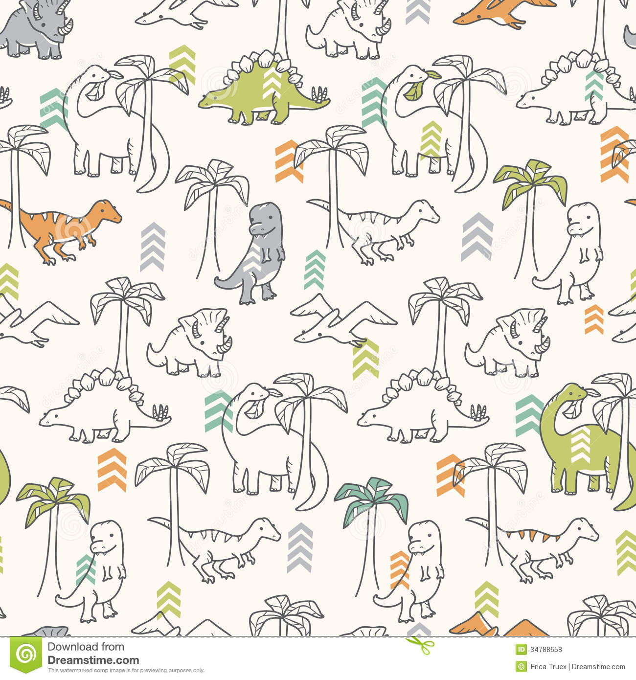 Dinosaur Pattern stock vector. Illustration of repeating - 34788658