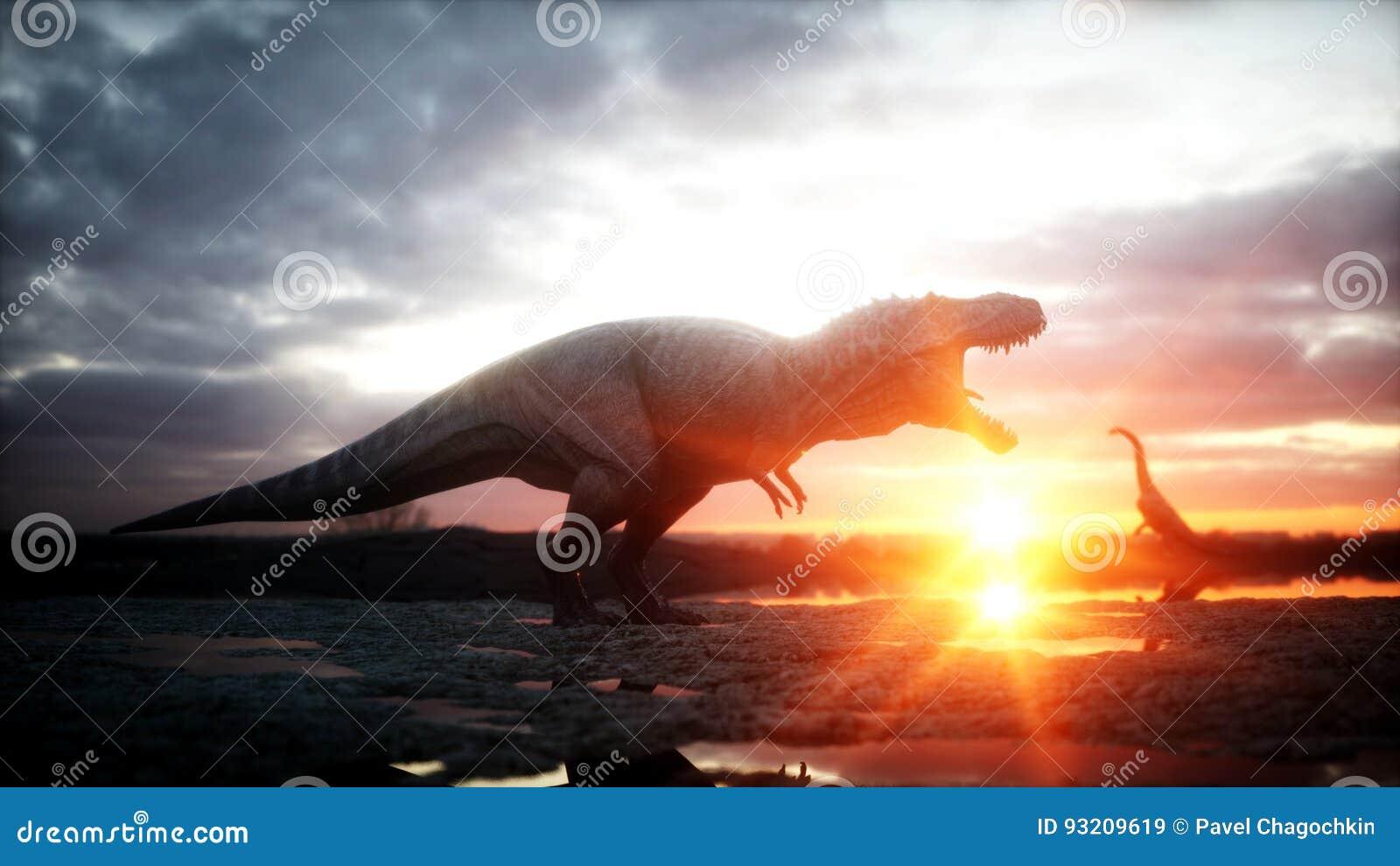 Dinosaur Período pré-histórico, paisagem rochosa Nascer do sol de Wonderfull rendição 3d