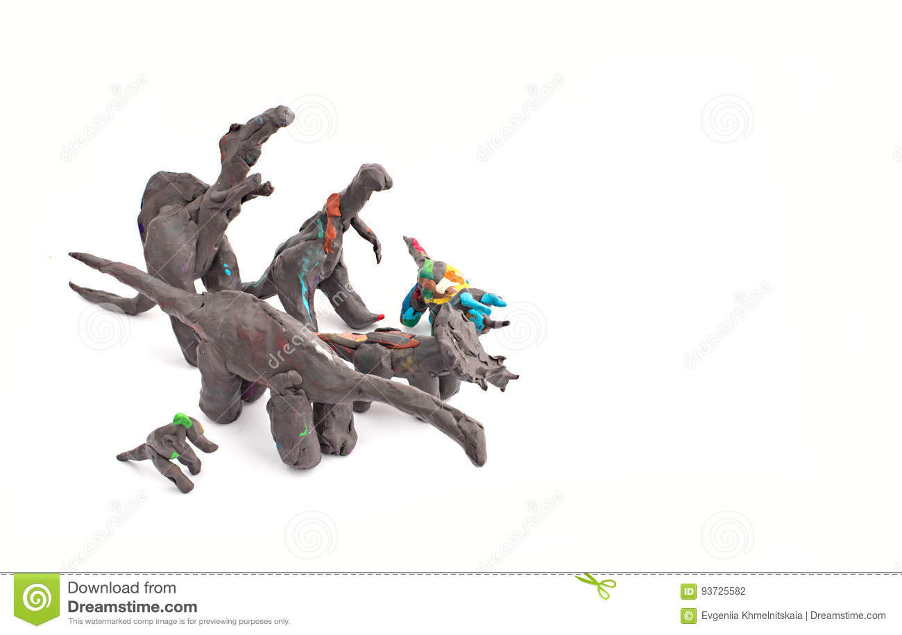 dinosaur from plasticine on a white background stock photo image