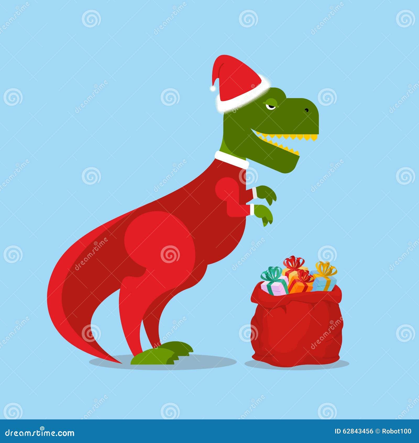 Dinosaur Santa Claus. T-Rex In Christmas Hat. Tyrannosaurus Stock ...