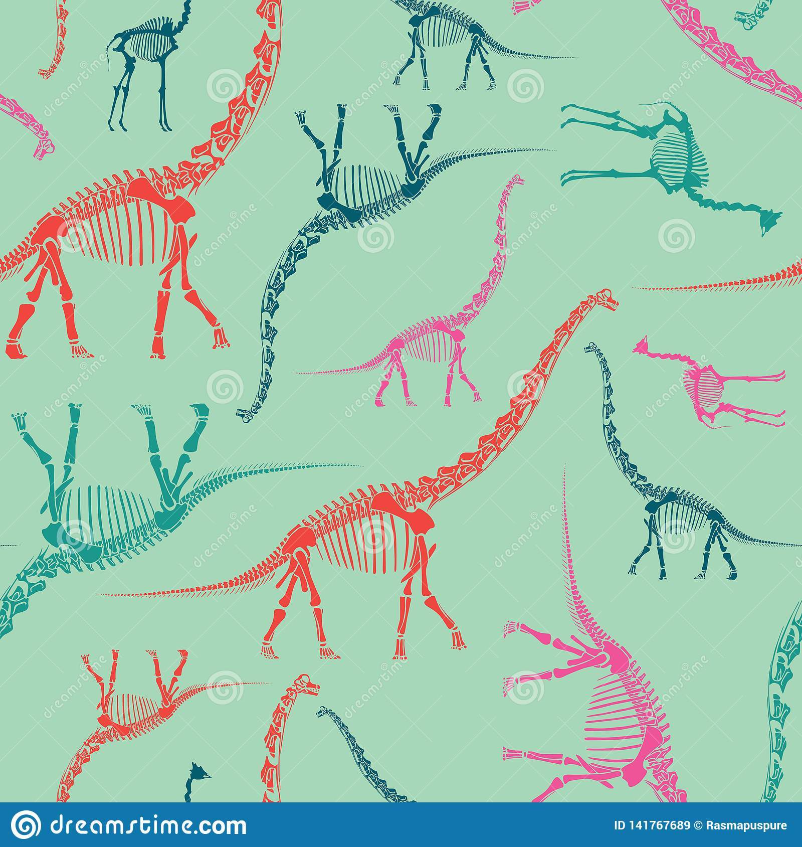 Dinosaur Skeleton Seamless Pattern on Mint. Bright and Colorful Wallpaper