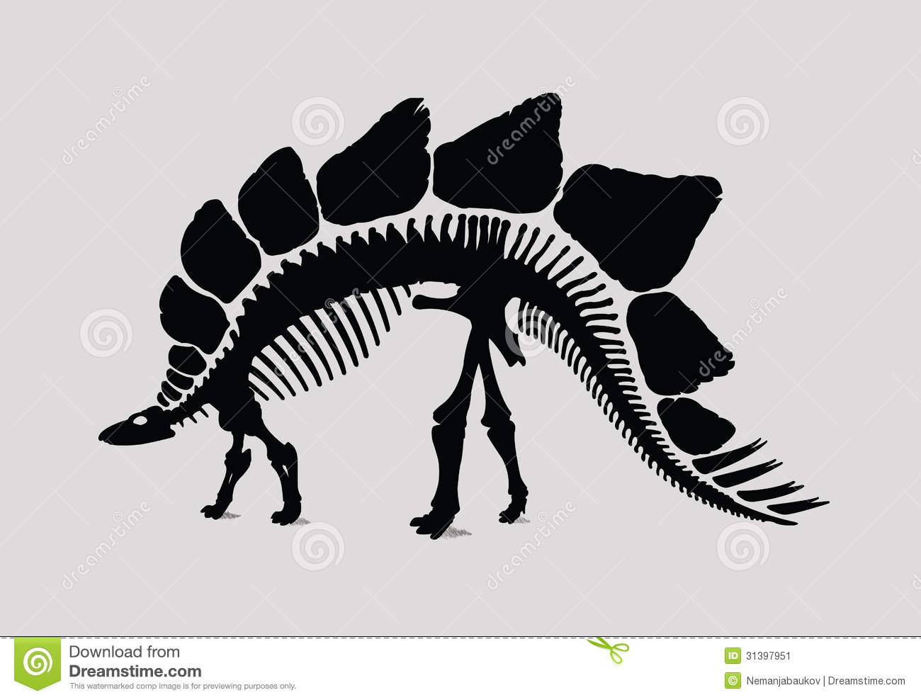 Dinosaur Skeleton Silhouette Stock Vector - Illustration of
