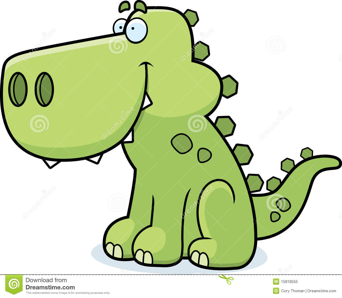 Happy cartoon dinosaur sitting and smiling