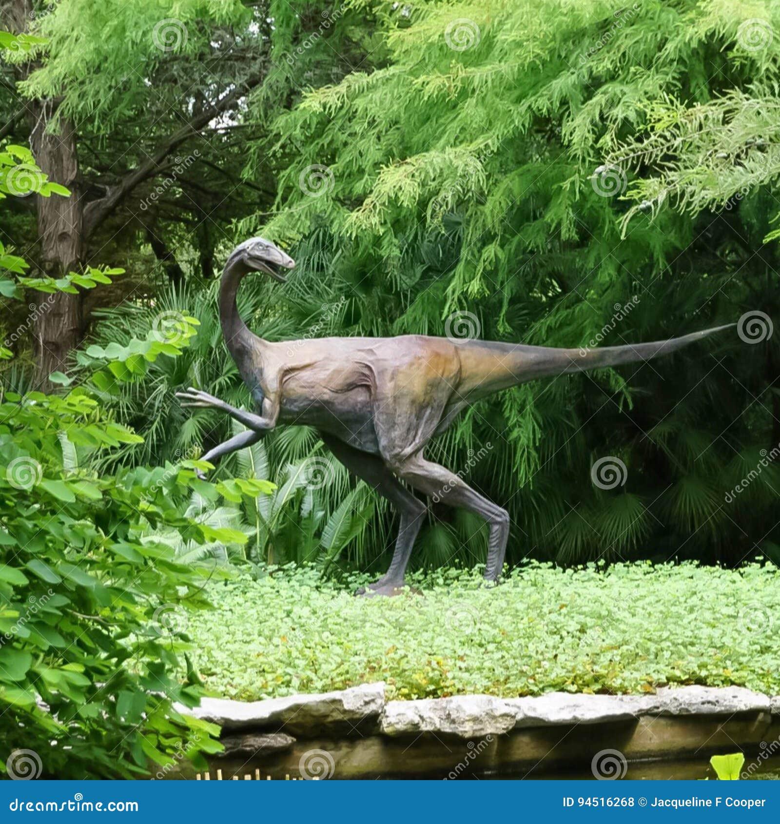 A Dinosaur Statue In Zilker Botanical Garden In Austin Texas