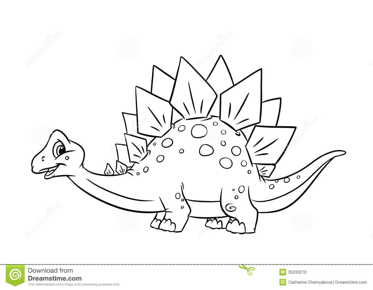 Stock Photo Dinosaur Stegosaurus Coloring Pages Isolated Illustration Cartoon Image35333270 on dinosaur vector graphics