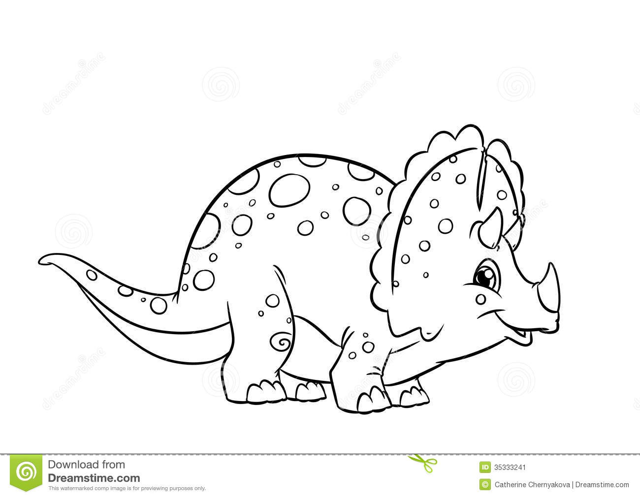dinosaur triceratops coloring pages stock image image 35333241. Black Bedroom Furniture Sets. Home Design Ideas