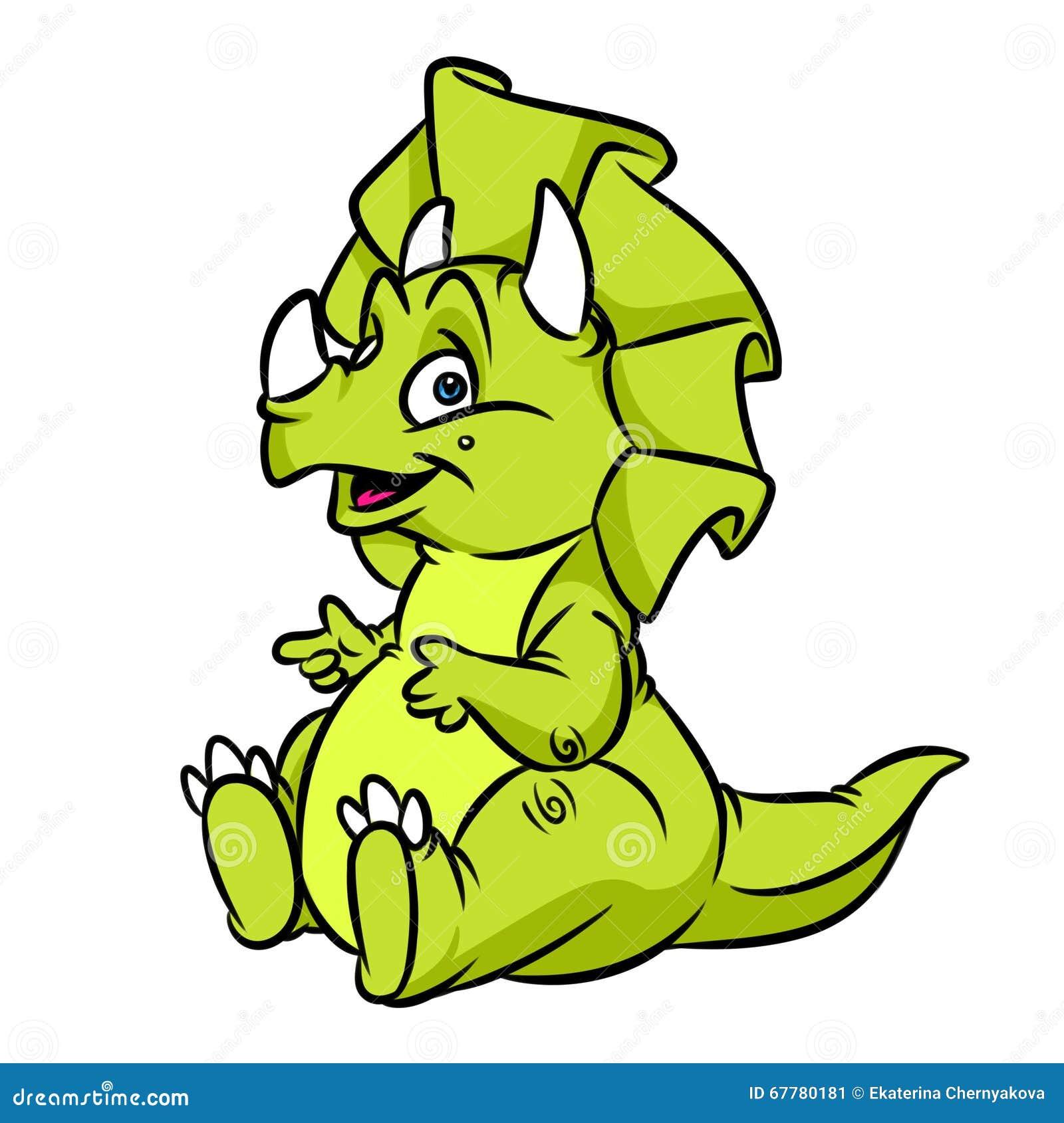 A Cartoon Character That Is Green : Cartoon illustration of triceratops dinosaur vector