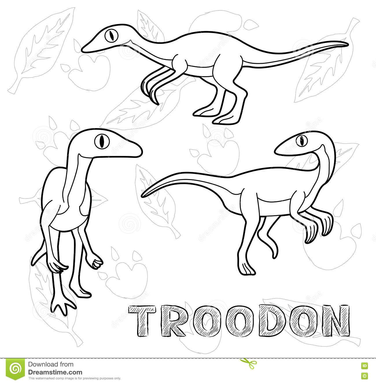 troodon coloring page - dinosaur troodon cartoon vector illustration monochrome