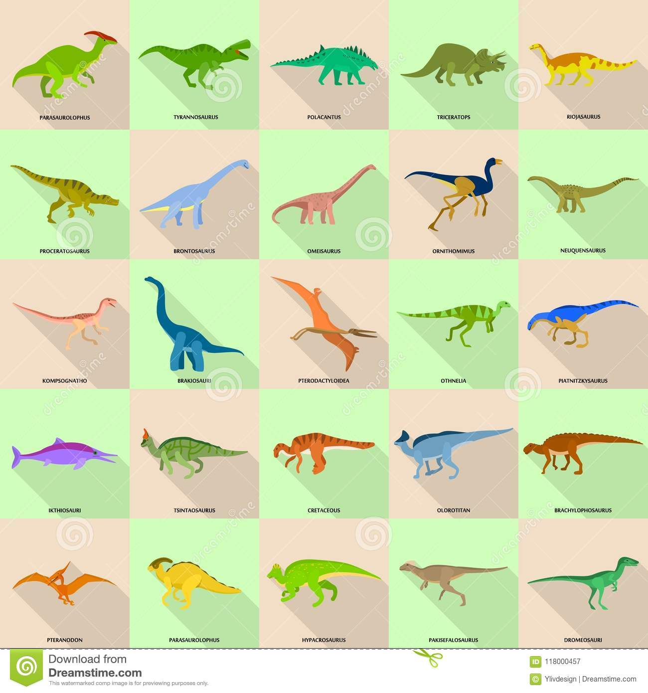 Dinosaur Types Signed Name Icons Set Flat Style Stock Vector
