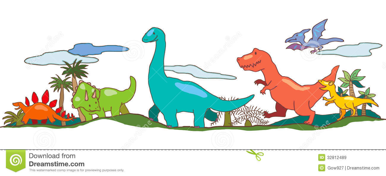 dinosaur world in children imagination stock vector