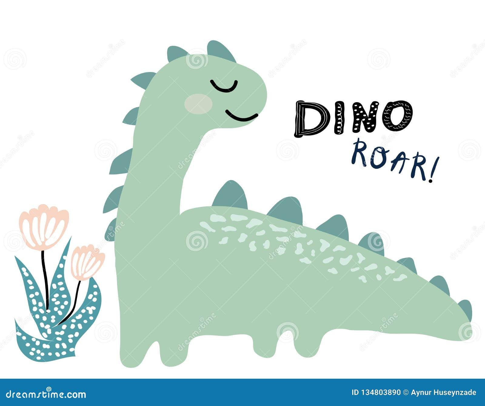 Dinosaura wektorowy druk w scandinavian stylu chldish ilustracja dla t koszula, dzieciak moda, tkanina