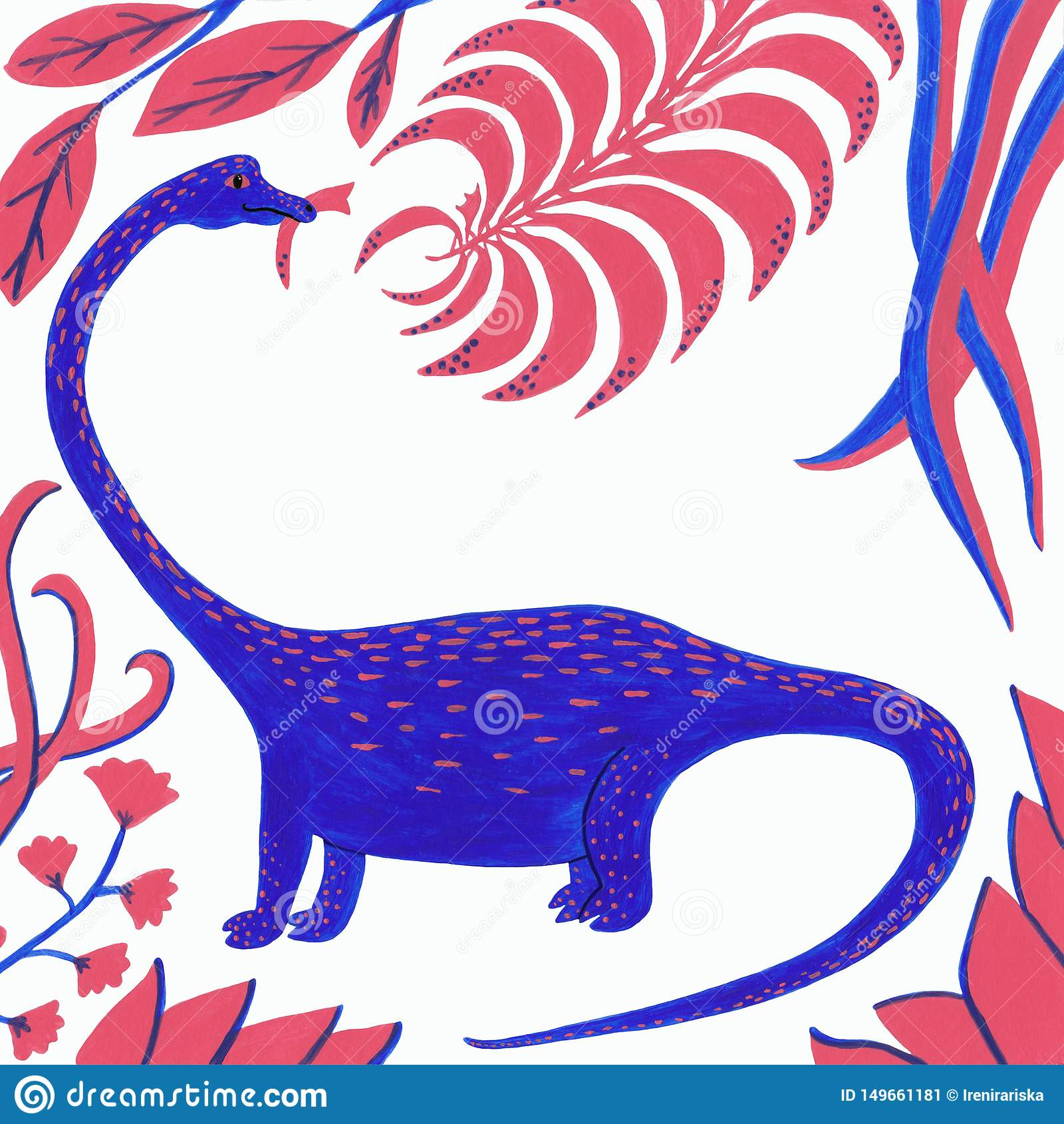 Dinosaure bleu avec les feuilles de corail et bleues sur un fond blanc