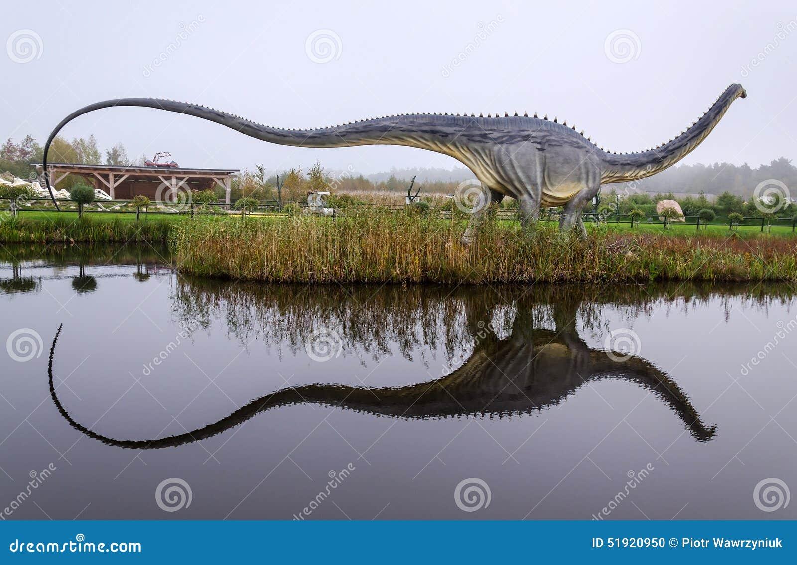 dinosaure de diplodocus avec la rflexion de l eau image ditorial