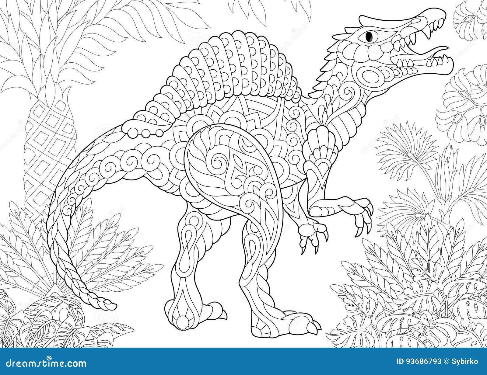 Coloriage A Imprimer Dinosaure Spinosaurus.Dinosaure De Spinosaurus De Zentangle Illustration De Vecteur