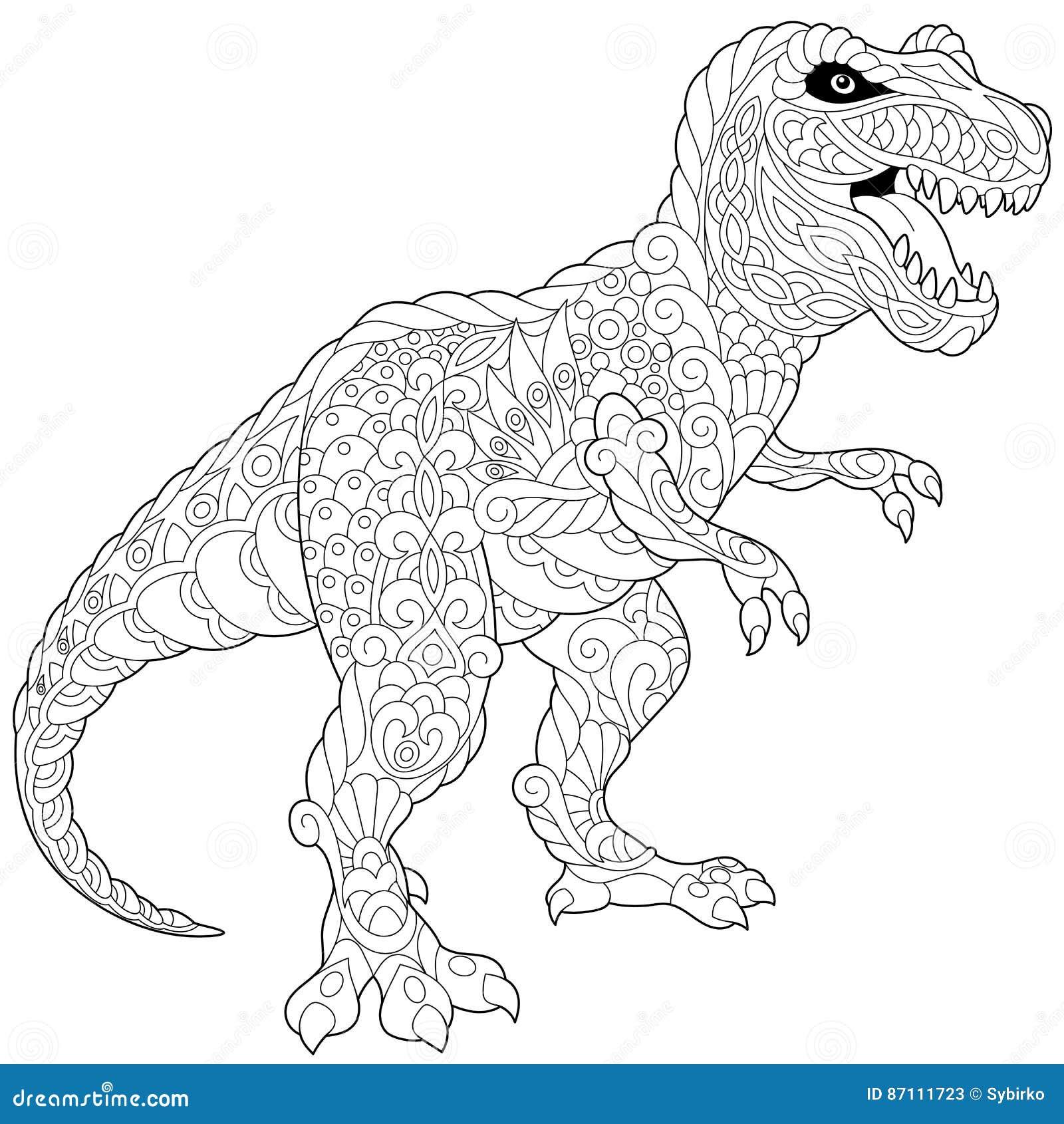 Dinosaure De Tyrannosaure De Zentangle Illustration de Vecteur - Illustration du freehand, yeux ...
