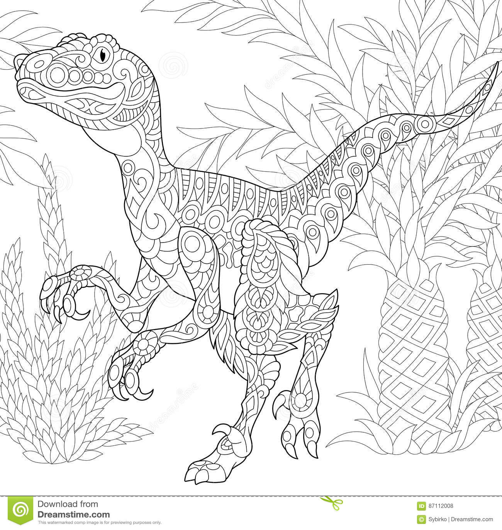 Coloriage Dinosaure Fossiles.Dinosaure De Velociraptor De Zentangle Illustration De Vecteur