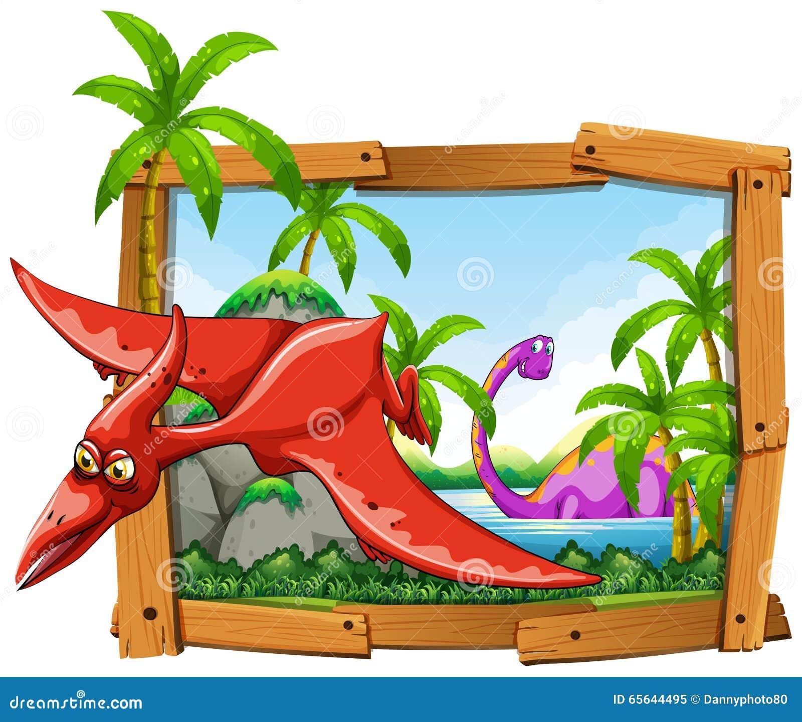 Dinosaures dans le cadre en bois