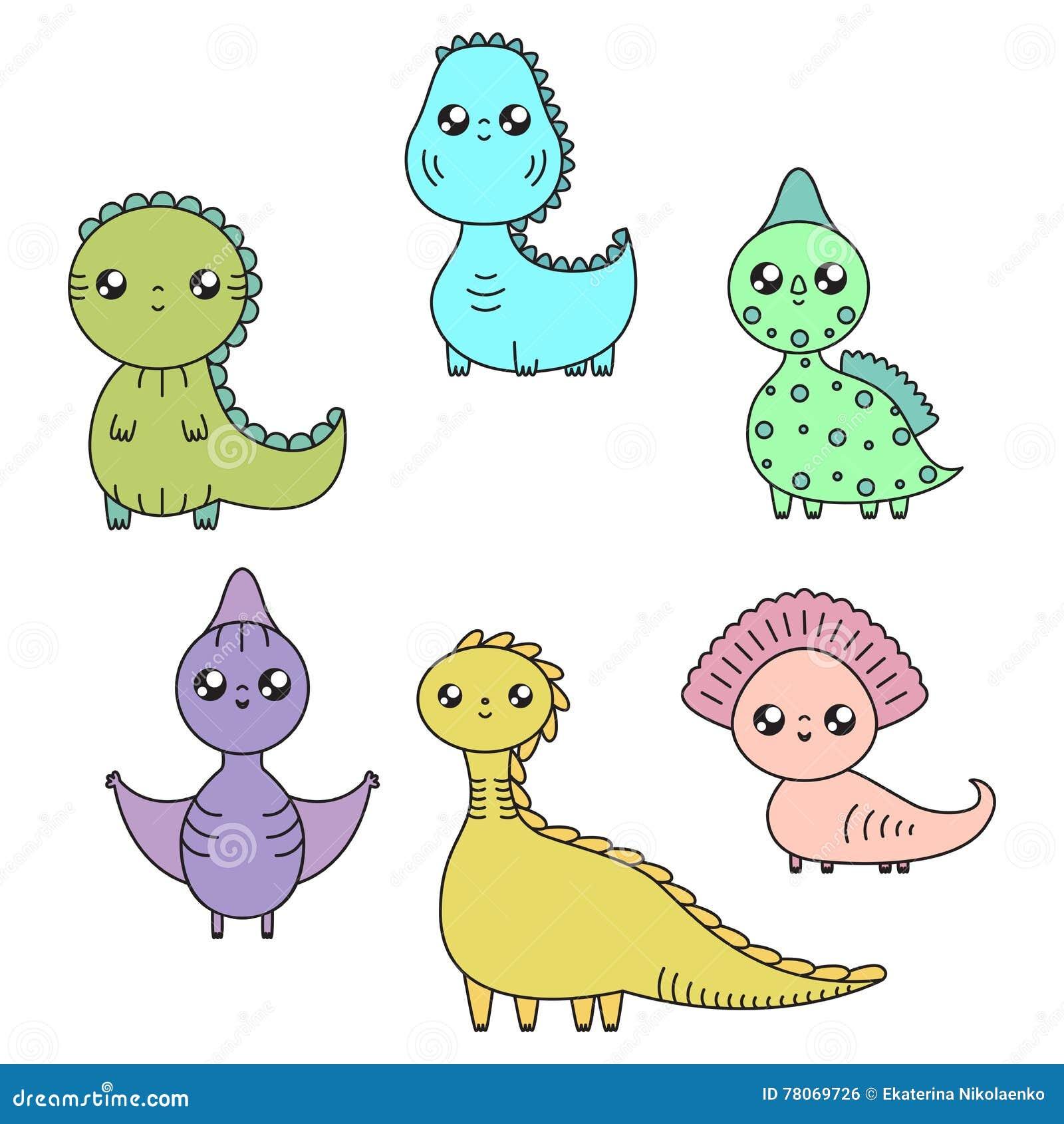 Dinosaures De Kawaii Regles Personnages De Dessin Anime Illustration