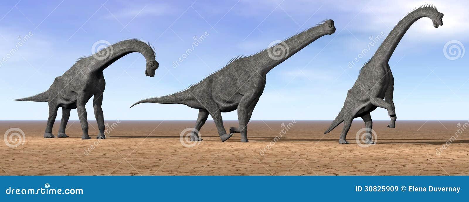 Dinosauri del Brachiosaurus nel deserto - 3D rendono