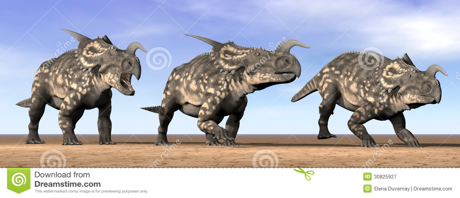 Dinosauri del Einiosaurus nel deserto - 3D rendono