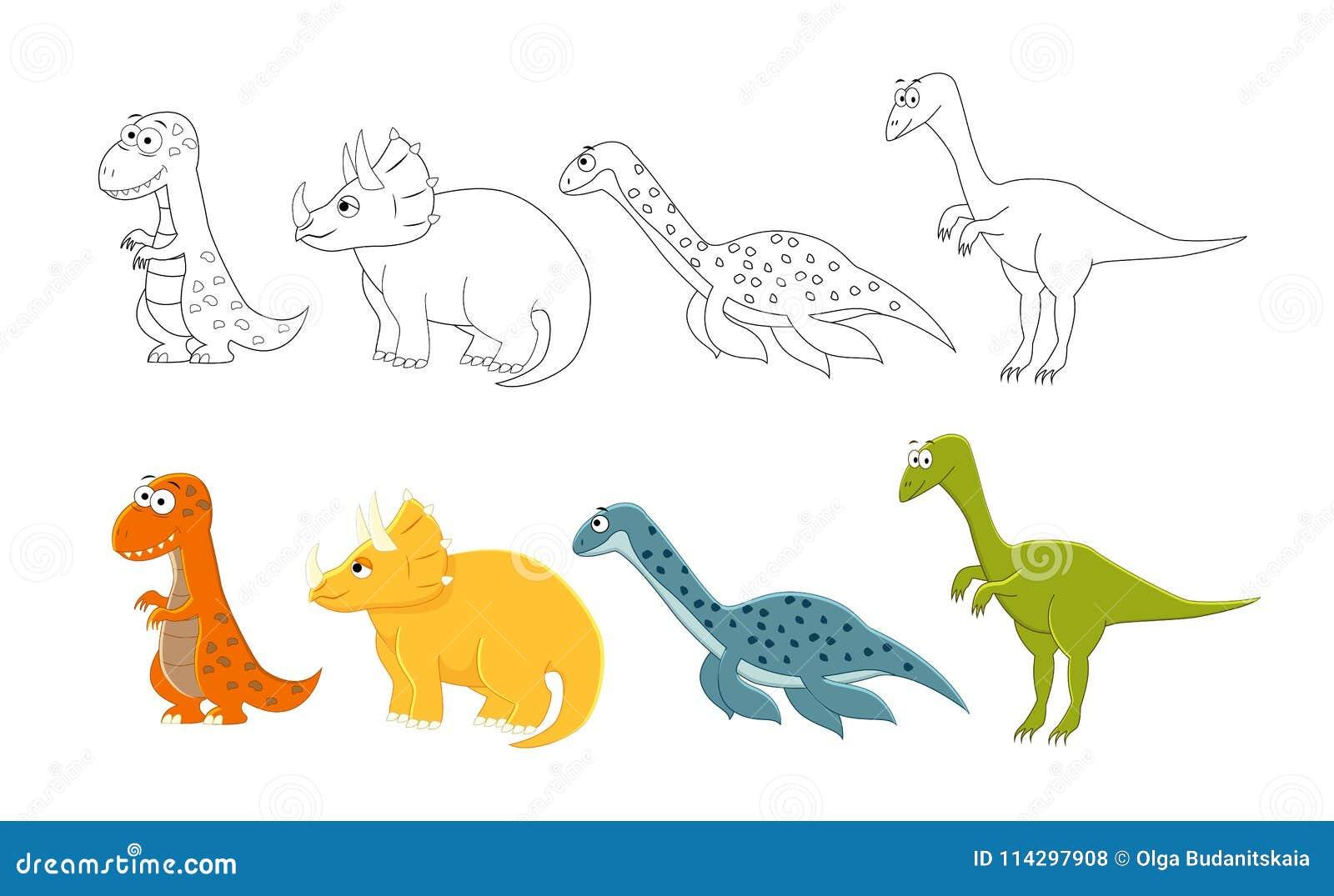 Dinosauri Del Fumetto Messi Pagine Del Libro Da Colorare Per I