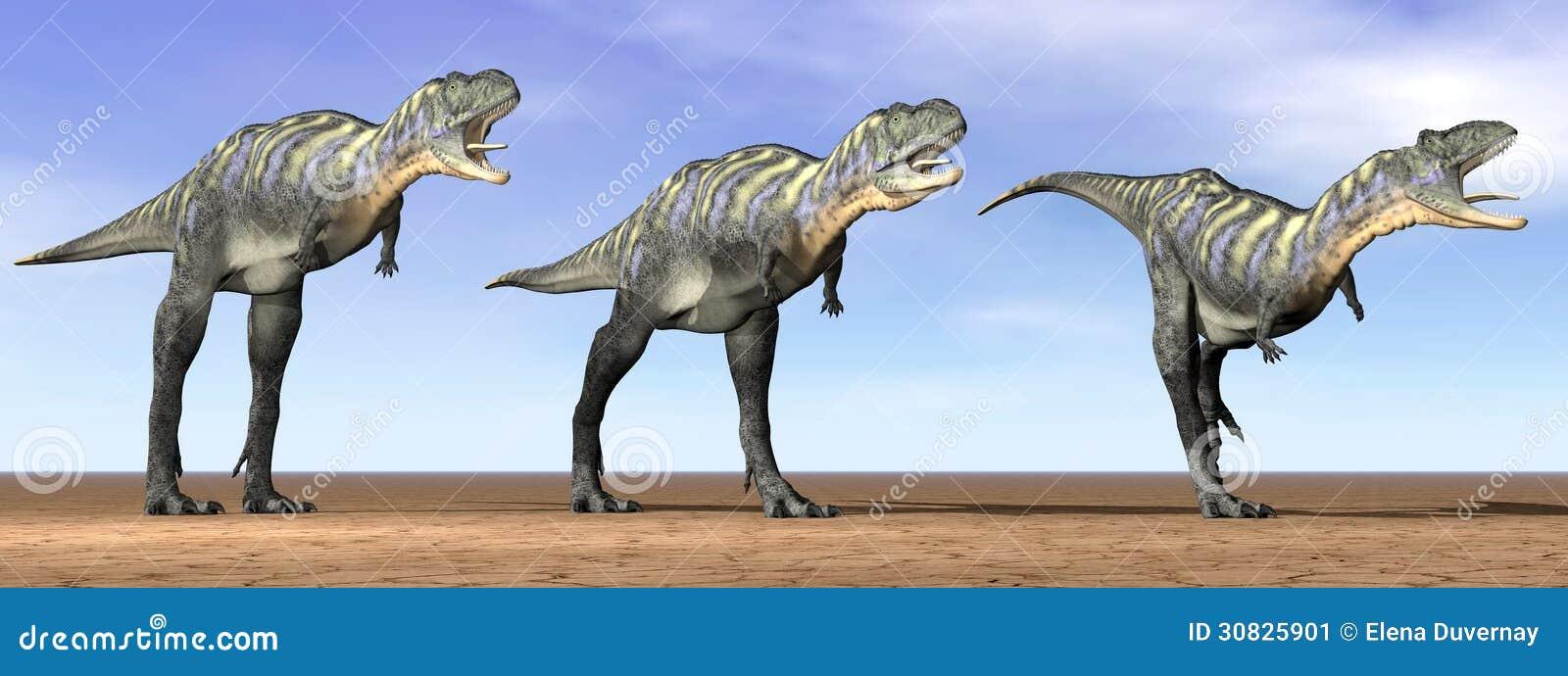 Dinosauri di Acasaurus nel deserto - 3D rendono