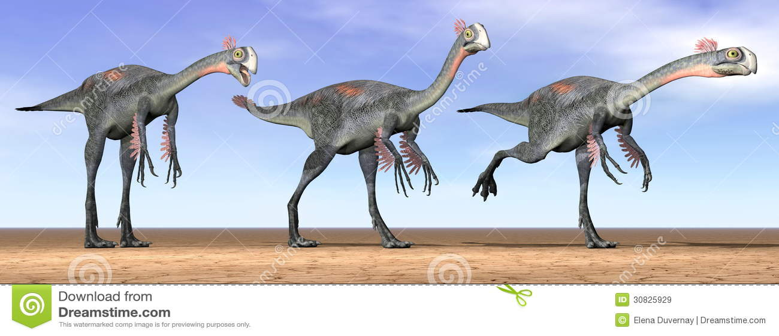 Dinosauri di Gigantoraptor nel deserto - 3D rendono